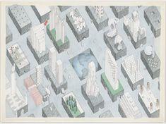 Rem Koolhaas, Madelon Vriesendorp. The City of the Captive Globe Project, New York, New York, Axonometric. 1972