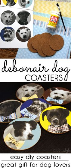 These DIY dog coasters make a great gift for the pet lover! Use your own photos for this easy dog craft and add bowties for a debonair look! Also perfect for a little boys room or a Father's Day Gift.