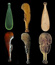 Maori short hand-club weapons are designed for close quarter combat and used in a jabbing or striking motion with intent to kill or maim (and then kill) with a blow to the skull. From top left, clockwise - Mere, (mere pounamu/greenstone mere) was the exclusive name of the weapon made of pounamu in some regions but other regions had a broader meaning which included the similar patu weapons made from bone, stone and hardwood. Greenstone clubs sometimes absorbed blood into tiny fissures leaving…