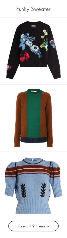 """""""Funky Sweater"""" by ms-millie on Polyvore featuring Sweater, tops, sweaters, jumpers, shirts, black, embroidered shirts, wool long sleeve shirt, long sleeve shirts and long sleeve sweater"""