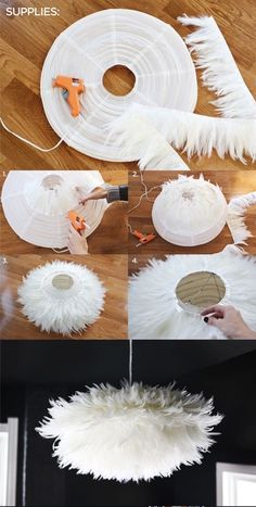 Fantastic DIY Chandelier Tutorials and Ideas for Decorating on a Budget DIY Chic White Feather Chandelier. This feather chandelier really tops off the look and feel of this dining space. Diy On A Budget, Decorating On A Budget, Home Crafts, Diy And Crafts, Diy Y Manualidades, Diy Chandelier, Outdoor Chandelier, Chandeliers, Chandelier Creative