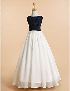 A-line Floor-length Flower Girl Dress - Chiffon Sleeveless