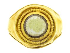 Ancient Roman gold and glass ring, 1st to 2nd century AD. from Berganza London Hatton Garden