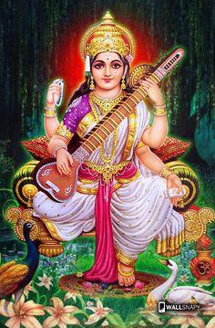 Saraswati Photo, Saraswati Mata, Saraswati Goddess, Lord Saraswati, Durga Images, Lakshmi Images, Shiva Hindu, Hindu Deities, Krishna