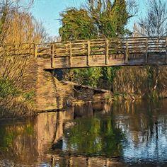 Footbridge Over The Kennet Framed Prints, Canvas Prints, Art Prints, Great Britain, Garden Bridge, Bridges, Travel Mug, Decorative Throw Pillows, Avon