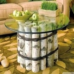 Natural Birch Logs Roundglass Top Coffee Table ❥❥❥…