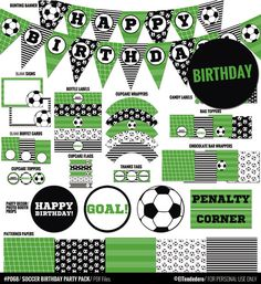 Soccer party package to decor your soccer birthday by eltendedero Soccer Birthday Parties, Soccer Party, Football Birthday, Sports Party, Birthday Party Decorations, Party Themes, 8th Birthday, Craft Party, Party Ideas