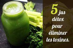 Lendemain de fête ? Corps plein de toxines ? Ces 5 jus detox aideront vos organes à éliminer les toxines en leur fournissant les vitamines, minéraux, antioxydants nécessaires. Le matin, privilégiez ceux avec des fruits. Le soir ceux composés essentiellement des légumes. Si vous désirez maigrir, ces jus sont spécialiement indiqués  #detox #jus #maigrir