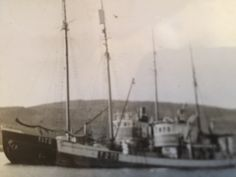 "M/S""Maiblomsten"" and ""Vaaland""....at Malangen harbour in 1926.. .From my Fathers.Hans Adrian Haugens,Malangen,Sealers Photos."