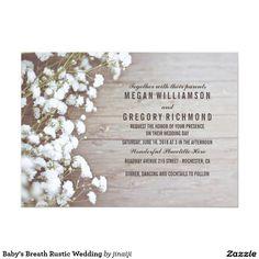 Baby's Breath Rustic Country Pastel Wedding 5x7 Paper Invitation Card   #wedding #invitation #rustic