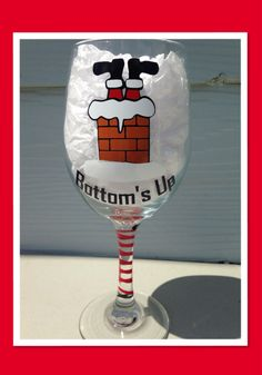This listing is for 1 custom made Christmas Bottoms Up Large Wine Glass - 20oz    This design can also be made on a Stemless Wine Glass, Beer