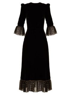 The Vampire's Wife Falconetti Fil-Coupé Tulle-Trimmed Velvet Dress Long Sleeve Tunic Dress, Dress Skirt, Dress Up, Dress Long, Dress Outfits, Fashion Dresses, Daily Dress, Girls Party Dress, Modest Dresses