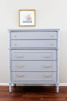 Dresser painted in Timber Wolf Benjamin Moore. 16 of the best furniture paint colors