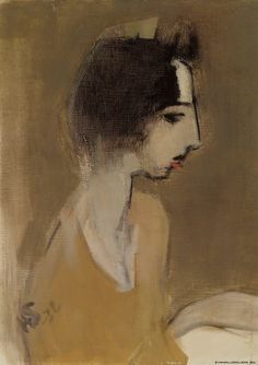Helene Schjerfbeck (Finnish, 1862 - 1946): Profile of a Woman (from memory) (1932) (via Finnish National Gallery)