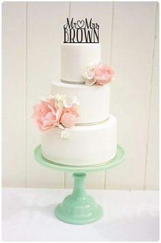 Wedding Cake Topper Mr and Mrs Topper Heart by ThePinkOwlGifts, $30.00