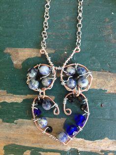 Blue Owl Necklace Sodalite Czech Glass by WiredRedheadJewelry, $25.00
