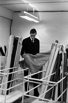 Yves St. Laurent on the day before the opening of his first collection for Dior 1957 - photo Inge Morath