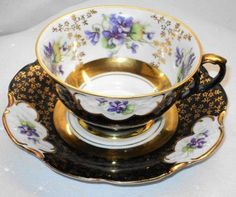 Royal Heidelberg Bavaria Black Gold Purple Violets Tea Cup and Saucer