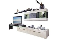 """Elegante Wohnwand mit TV-Bank und Glasablageboden Tv Bank, Flat Screen, Glass Display Case, Collection, Moving Out, Modern Design, Cabinet Drawers, Lighting, Homes"