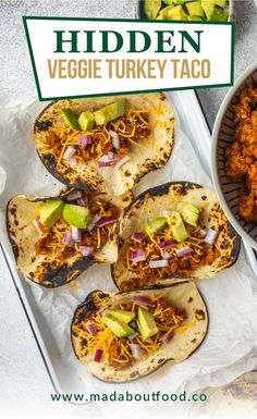 Use this Hidden Veggie Turkey Tacos recipe to sneak some extra veggies into homemade ground turkey taco meat. Your friends and family won't even know that they're eating zucchini and cauliflower with their meat. Try this low carb dinner recipe tonight! #turkeyrecipes #tacotuesday #dinnerrecipes Easy Low Carb Lunches, Healthy Weeknight Dinners, Low Carb Dinner Recipes, Lunch Recipes, One Pan Meal Prep, Meal Prep For The Week, Veggie Tacos, Healthy Tacos, Ground Beef Recipes