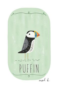 Puffin - 6x4 archival art print - gouache painting on green background. $10.00…