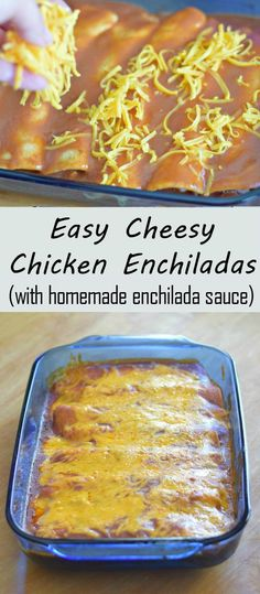 Easy cheesy chicken enchiladas recipe with homemade enchilada sauce. This kid friendly dinner is ready in about a half hour and uses flour tortillas to make it easier! #TeamSponge #ScrubMyWay AD