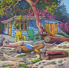 Off the Grid 1 - Greta Guzek Storybook Cottage, Country Scenes, Art Studies, Local Artists, Beautiful Landscapes, Van Gogh, Painting Inspiration, New Art, Jigsaw Puzzles