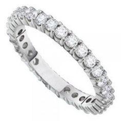14K White Gold 3.00 Carat Diamond Eternity Wedding Anniversary Ring Band