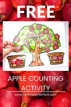 Free printable apple tree counting activity for practicing number matching. Match the numeral with the number word. Number recognition. Fun activities for kindergarten. Free download. Teacher resources for preschool and kindergarten math. Kindergarten Math Activities, Counting Activities, Preschool Math, Kindergarten Classroom, Toddler Preschool, Math Games, Free Teaching Resources, Teacher Resources, Number Matching