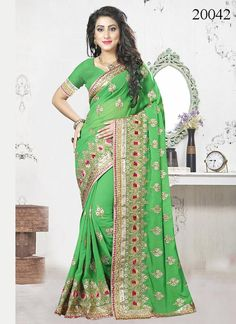 Online shopping of saree, latest saree designs, saree collection online. Grab this resplendent green classic designer saree for party and wedding.