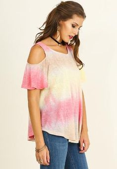 Off Shoulder Tie Dye Print Top