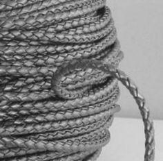 Genuine Leather 3mm Braided Bolo Cord Round Metallic Silver (1 Yard)