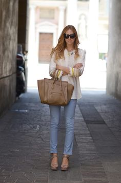 Loving the blue pants with this cropped jacket. Really like the jacket