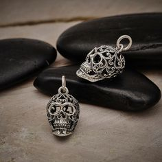 Sterling Silver Sugar Skull Charm with Filigree Scroll Work, Skull Charm, Mexican Skull Charm, Skull Jewelry Silver Bow, Silver Charms, Halloween Jewelry, Halloween Halloween, Vintage Halloween, Halloween Makeup, Halloween Costumes, Abalone Jewelry, Sterling Silver Cross