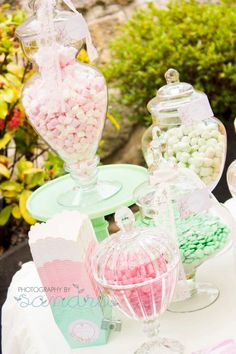 Cute for a small bridal shower candy buffet.