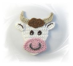 gehäkelte Kuh, Häkelapplikation Kuh, Applikation Stier, Rind, crochet patches cow,