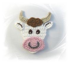 gehäkelte Kuh, Häkelapplikation Kuh, Applikation Stier, Rind, crochet patches…