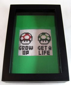 Grow Up Get a Life Framed Cross Stitch Green Border