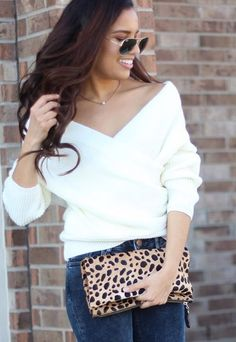Sweet and sexy look by @brittanypuerto who is wearing this white wrap off-shoulder sweater. #LBSDaily
