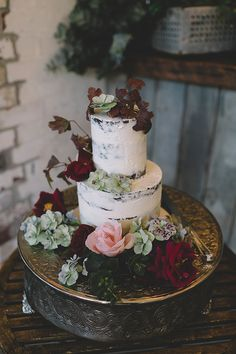 rustic wedding cake - photo by Love Katie + Sarah http://ruffledblog.com/australian-winery-wedding