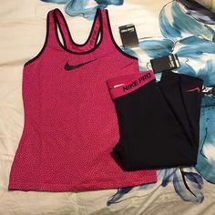 Nike Pro Pink Workout Outfit Nike pro Capri leggings and Nike pro racerback tank. Super comfy stuff! Both medium and brand new with tags. Capri originally 42. Tank originally 35. As always, cheaper on Ⓜ️erc!! Nike Tops Tank Tops