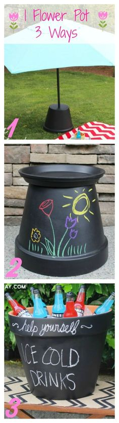 Use one painted flower pot in three ways. As an umbrella stand, side table, and an ice bucket!