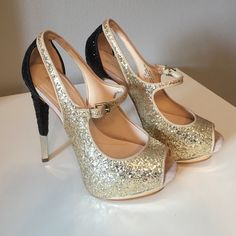 """Boutique 9 Nickeya stilettos Gold and black sparkle, sky high 5.5"""" heel! Platform is about 1.5"""". These shoes are amazing. The Mary Jane strap makes it possible to walk much easier. Excellent condition. Wore once for a photo shoot. Box included. Boutique 9 Shoes Heels"""