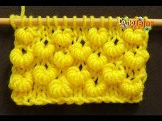 Punto puff / punto fantasia fácil y rápido en dos agujas - YouTube Knitting Videos, Knitting Stitches, Knitting Projects, Knitting Patterns, Tunisian Crochet, Crochet Yarn, Honeycomb Stitch, Knitted Flowers, Moss Stitch