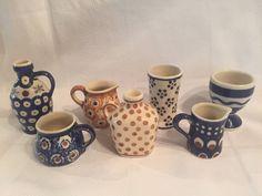 Lot Of 7 Polish Pottery Ceramic Miniature Jugs Vases Egg Mixed Patterns EUC  | eBay