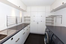 Pullout dryer by rack attached to wall Laundry Room Design, Laundry Rooms, Kitchen Cabinets, Loft, Bathroom, Wall, Inspiration, Oak Grove, Dryer