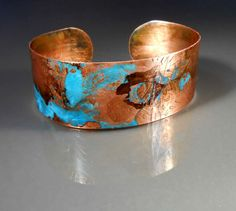 Handmade Embossed Copper Cuff Bracelet CB459 by studiovdesigns, $30.00