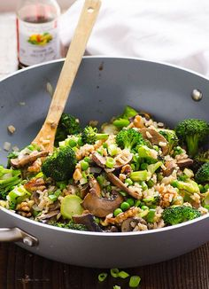 Broccoli Mushroom Stir Fry is a healthy Chinese style recipe with portobello mushrooms, peas, walnuts and brown rice in under 30 minutes.