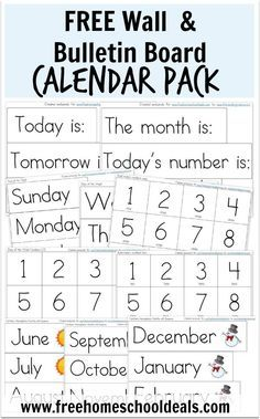 FREE Wall/ Bulletin Board Calendar Pack Instant Download