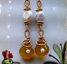 Dangle earrings drop earrings gemstone wire wrapped by chashway, $65.00